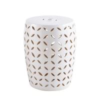 Tabouret en céramique blanche motifs ajourés Merida