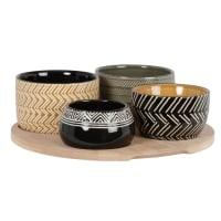 NELSON - Taças de aperitivos em grés com motivos multicolores (x4) e tabuleiro em bambu