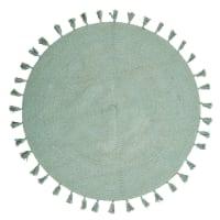NINA - Tapete redondo com franjas de algodão verde diâmetro 100