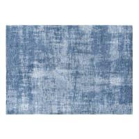 Tapis bleu motifs jacquard 140x200 Feel