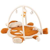 MIMIZAN - Tapis d'éveil bébé renard marron, écru et jaune moutarde