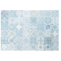 Tapis d'extérieur blanc motifs carreaux de ciment bleus 155x230 Amadora