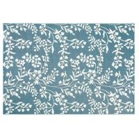 LINA - Tapis d'extérieur bleu canard motif floral blanc 160x230