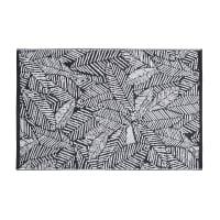 KIGANJA - Tapis d'extérieur en polypropylène motifs feuilles graphiques noires et blanches120x180