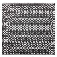 Tapis d'extérieur motifs graphiques noirs et blancs 180x180 Kamari