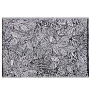 Tapis d'extérieur noir imprimé feuilles blanches 180x270 Kiganja