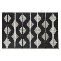 ADEM - Tapis d'extérieur réversible en polypropylène écru et noir motifs triangles 180x270