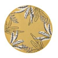 Tapis d'extérieur rond jaune imprimé feuillages D160 Seronera