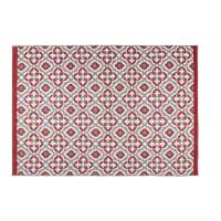 Tapis d'extérieur rouge motifs graphiques 160x230 Saubrigues