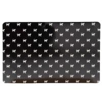 Tapis de gamelle pour chat noir imprimé blanc 43x32