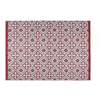 Tapis de jardin motifs graphiques rouges et blancs 140x200 Saubriges