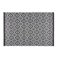 Tapis de jardin motifs noirs et blancs 140x200 Corolia