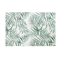 Tapis écru imprimé végétal vert 140x200 Utopia