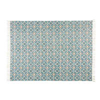 Tapis en coton bleu à motifs 140x200 Blocalia