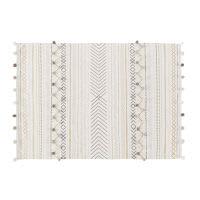 Tapis en coton écru motifs graphiques 120x180 Ethnic Market