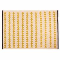 Tapis en coton écru motifs jaunes 180x120cm Naomi