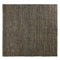 Tapis en coton et jute noir et marron motifs à chevrons 200x200 Barcelone