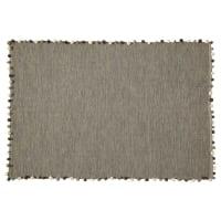 Tapis en coton gris 120x180 Pompon