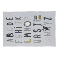 MIKA - Tapis en coton gris imprimé alphabet 120x180