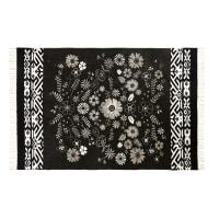 Tapis en coton noir et blanc motif floral 140x200 Rozenn