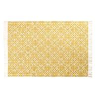 Tapis en coton tissé jacquard motifs graphiques jaunes et écrus 140x200 Thalie