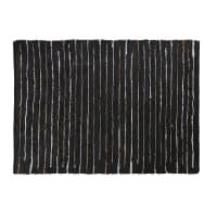Tapis en cuir de vache et coton motifs à rayures 140x200 Mahdi