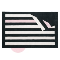 Tapis en laine tricolore motifs rayures 140x200 Chantal Thomass