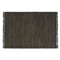 LODGE - Tapis fait main en jute et coton recyclé noirs 160x230