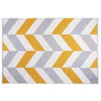 Tapis graphique en coton gris et jaune 180x120cm Joy