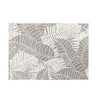 Tapis gris imprimé feuillages écrus 140x200 Liana