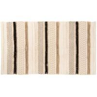 UTVIK - Tapis motifs à rayures écru, noir et caramel 70x130