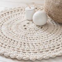 Tapis rond en coton écru D.90cm Crochet