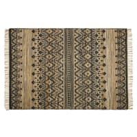 RISHI - Tapis tissé en jute et coton motifs beiges, marron, et noirs 160x230