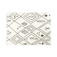 Tapis tufté écru motifs graphiques noirs 140x200 Elsu