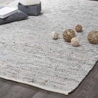 Tappeto beige e grigio in cuoio 140 x 200 cm Basics