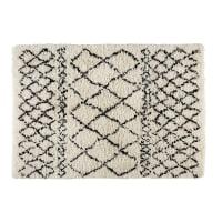 Tappeto berbero écru/nero in lana e cotone 140x200cm Mounia