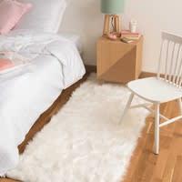 Tappeto bianco in simil pelliccia 80 x 200 cm Oumka