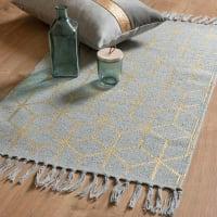 Tappeto in cotone a motivi grafici grigi e dorati, 50x80 cm Stella