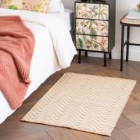 KHOE - Tappeto in cotone e iuta con motivi grafici beige e bianchi, 60x90 cm