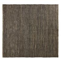 Tappeto in cotone e iuta nero e marrone motivi a spina di pesce, 200x200 cm Barcelone