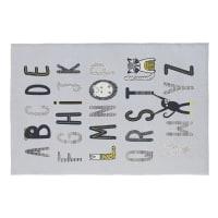 MIKA - Tappeto in cotone grigio stampa alfabeto, 120x180 cm