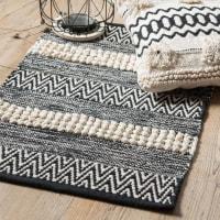 SALVADOR - Tappeto in cotone motivi a righe écru e nere, 50x80 cm