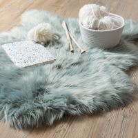 Tappeto in pelliccia ecologica blu grigio, 60x90 cm Lapon