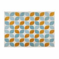 Tappeto in tessuto con motivi arancioni e blu 140x200cm Seven