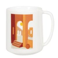 BELINA - Set aus 2 - Tasse aus weißem, rotem und braunem Porzellan mit Druckmotiv