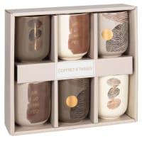 KRISTEL - Tassenset aus Steinzeug, Set aus 6, in Box, mit bunten grafischen Motiven und Untertassen aus Mangoholz