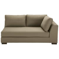 Taupe-coloured cotton modular sofa bed right armrest Terence