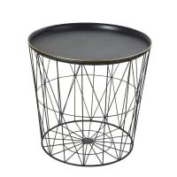 Tavolino da divano in fili di metallo nero Kalo