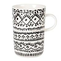 WAIROA - Lote de 2 - Taza de gres color marfil y negro con estampados
