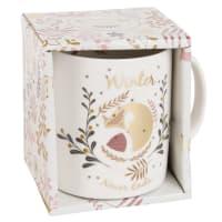 Taza de porcelana blanca con estampado Fox